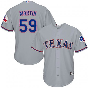 Youth Authentic Texas Rangers Brett Martin Majestic Cool Base Road Jersey - Gray