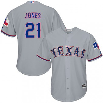 Youth Authentic Texas Rangers Jason Jones Majestic Cool Base Road Jersey - Gray