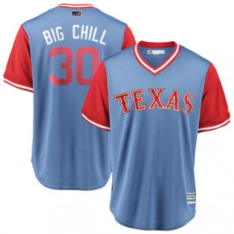 "Youth Replica Texas Rangers Nomar Mazara Majestic ""BIG CHILL"" /Red 2018 Players' Weekend Cool Base Jersey - Light Blue"